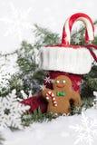 圣诞节长袜用姜饼曲奇饼 免版税库存图片