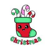 圣诞节长袜面孔 我首先的圣诞节 库存例证