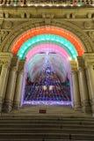 圣诞节门照明设备结构树 免版税库存照片
