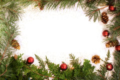 圣诞节闪光叶子的框架 免版税库存图片