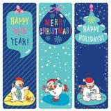 圣诞节问候标记。雪人。 免版税图库摄影