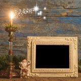 圣诞节问候照片框架 免版税库存图片