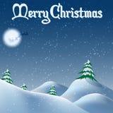 圣诞节随风飘飞的雪和树在动画片式 库存例证