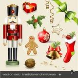 圣诞节集合传统向量 免版税库存照片