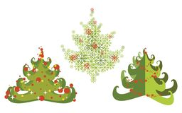 圣诞节集合结构树 免版税库存图片