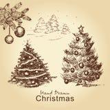 圣诞节集合葡萄酒 免版税库存照片