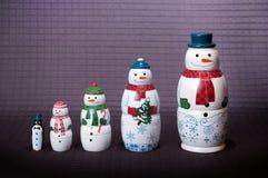 圣诞节雪人家庭玩偶 免版税库存照片