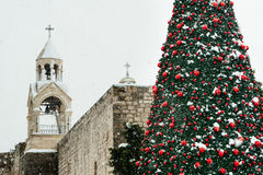 圣诞节雪在伯利恒 免版税库存照片