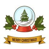 圣诞节雪地球象 图库摄影