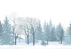 圣诞节雪树边界 斯诺伊森林无缝的样式 树w 免版税库存图片