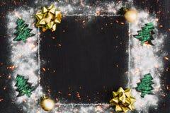 圣诞节雪框架 免版税库存图片