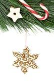 圣诞节雪花姜饼、藤茎、星和杉树在白色 免版税库存图片