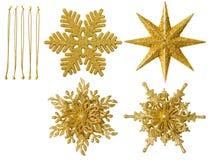 圣诞节雪花被隔绝的装饰,垂悬的雪剥落玩具 免版税库存图片