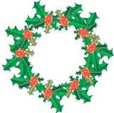 圣诞节霍莉例证向量花圈 绿色在白色离开,红色果子,梯度,对象,新年 库存照片