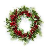 圣诞节霍莉例证向量花圈 库存图片