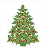 圣诞节霍莉做槲寄生结构树 免版税图库摄影