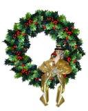 圣诞节霍莉花圈 库存例证