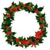 圣诞节霍莉花圈 免版税库存图片
