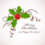 圣诞节霍莉莓果和闪亮金属片 库存图片