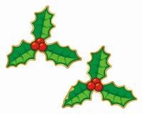 圣诞节霍莉贴纸 库存照片