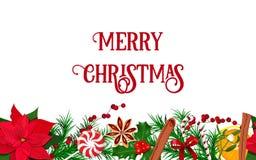 圣诞节霍莉,美洲冬青,一品红的框架装饰由新冷杉分支组成了 图库摄影
