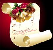 圣诞节霍莉pinecone滚动 免版税库存图片