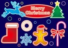 圣诞节霓虹灯广告-五颜六色的彩色组 向量例证