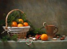 圣诞节静物画用蜜桔 免版税库存照片