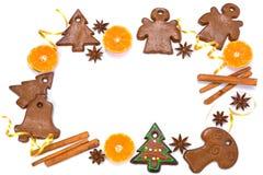 圣诞节面包店框架用姜饼 免版税图库摄影