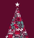 圣诞节音乐反对结构树 免版税库存照片