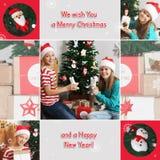 圣诞节题材拼贴画 有玩具的愉快的孩子临近圣诞树 礼品 免版税库存照片