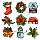 圣诞节颜色属性的剪影汇集 免版税库存照片