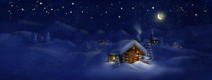 圣诞节风景全景风景-小屋、教会、雪、杉树、月亮和星 免版税库存图片