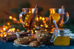 圣诞节风景和娱乐用香料和柑橘 免版税库存照片