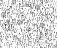 圣诞节风景无缝的背景 免版税库存图片