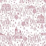 圣诞节风景无缝的背景 免版税库存照片