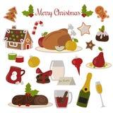 圣诞节食物传染媒介集合 免版税库存图片