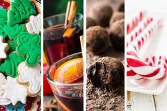 圣诞节食物拼贴画  免版税库存照片