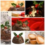 圣诞节食物蒙太奇 库存照片