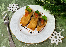 圣诞节食物-烤鱼 免版税库存照片