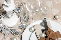 圣诞节餐位餐具 库存照片