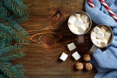 圣诞节饮料 抢劫热的咖啡用蛋白软糖,在木背景的红色棒棒糖 新年度 库存照片