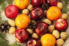 圣诞节香料、坚果和果子 免版税库存图片
