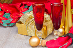 2012年圣诞节香槟 免版税图库摄影
