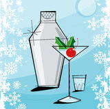圣诞节马蒂尼鸡尾酒减速火箭的样式 免版税库存图片