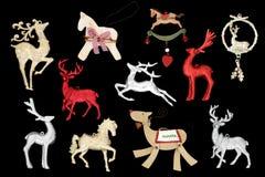圣诞节驯鹿和马装饰 免版税库存照片