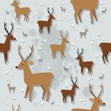 圣诞节驯鹿无缝的样式 免版税库存图片