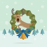 圣诞节驯鹿雪传染媒介 库存图片