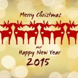 圣诞节驯鹿-贺卡2015年 免版税库存图片
