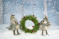 圣诞节鸟花圈 免版税库存图片